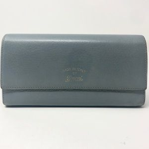 Gucci Blue Swing Wallet w/ Floral Interior